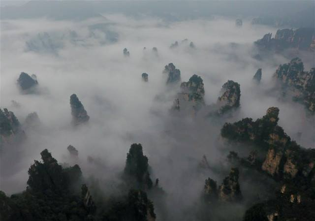 Spectacular aerial view of Hunan Zhangjiajie National Park