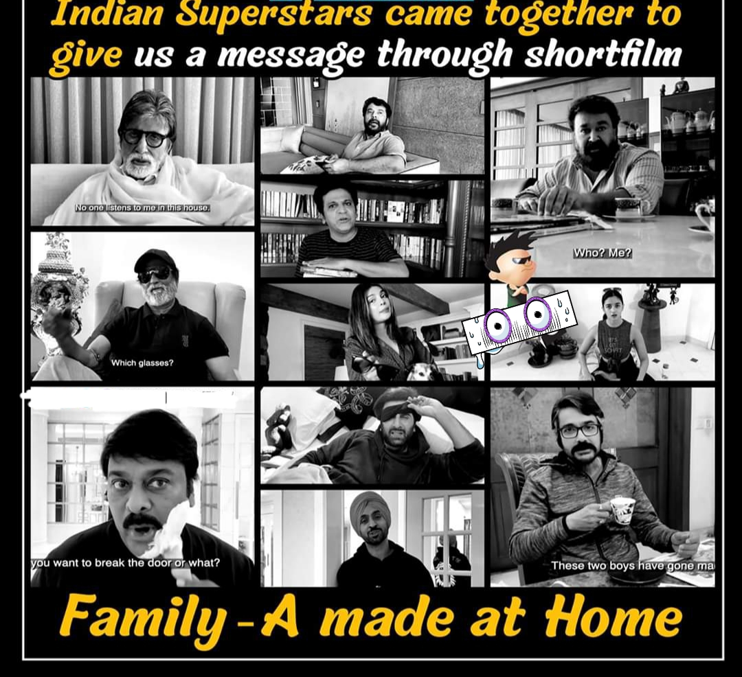 #Family #IndiaFightsCorona - Indian Super stars and Mega stars Come Together To Spread The Message #StayHomeStaySafe