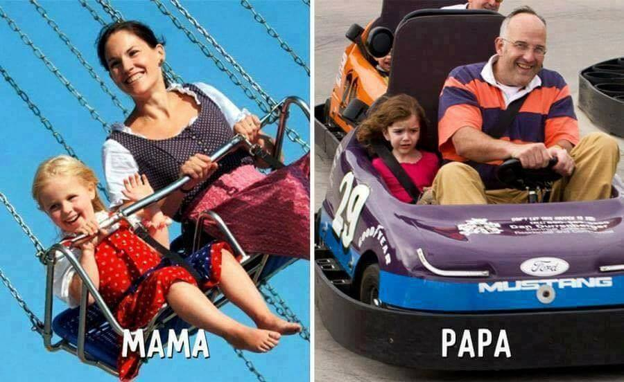 Difference between Mom & Dad in 8 pics