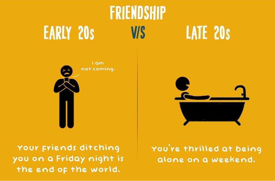 FRIENDSHIP : Early 20's v/s Late 20's in 18 Pics
