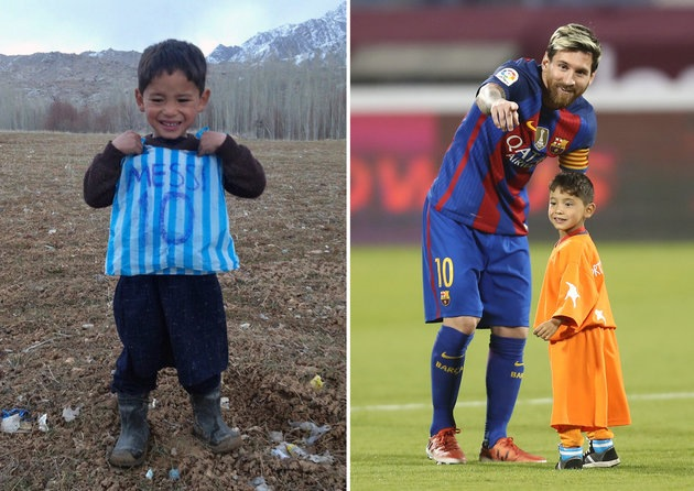 Afghan boy who became a viral star for wearing a plastic-bag Lionel Messi jersey has finally met his hero!