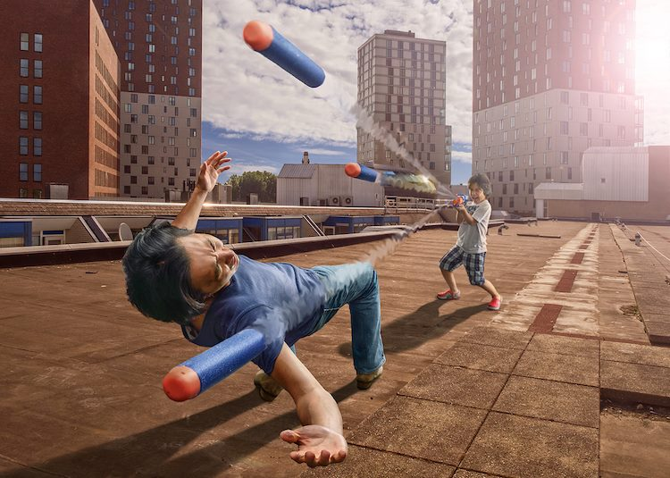 Father's Endless Imagination by Photoshopping Son Into Fantastical Scenes