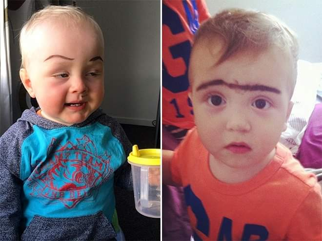 Awkward Internet Trend - Babies With Makeup Eyebrows (22 Pics)