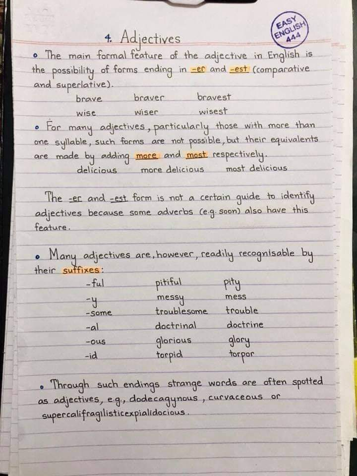 English Lessons- English Handwriting Notes! (19 Pics)