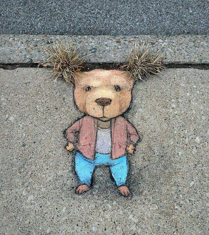 Street Artists David Zinn, Doodles Different Quirky Characters In The Streets Using Only Chalk (56 Pics)