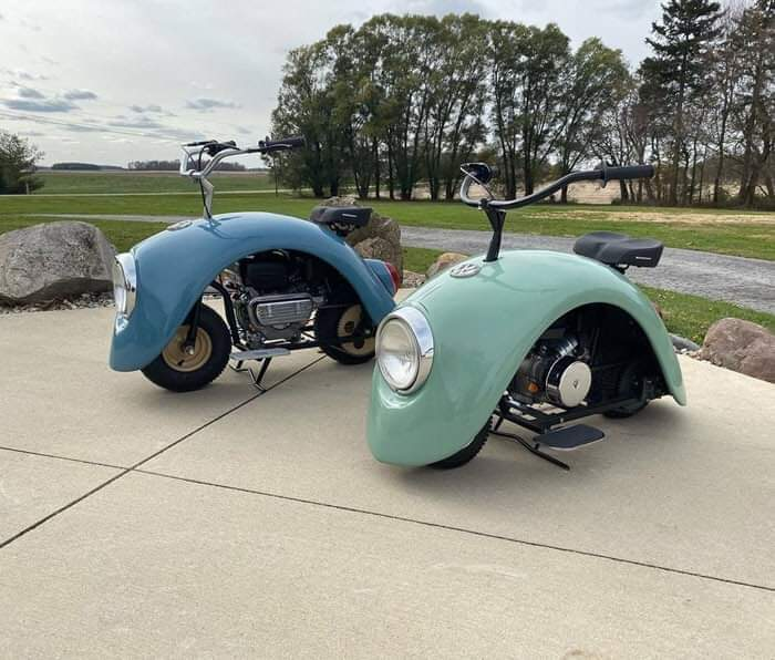 Brent Walter built customized Volkspod motorcycles using Classic VW Beetle's fenders
