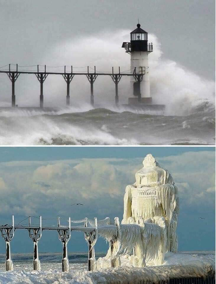 1Pic - A Michigan lighthouse before and after a winter storm