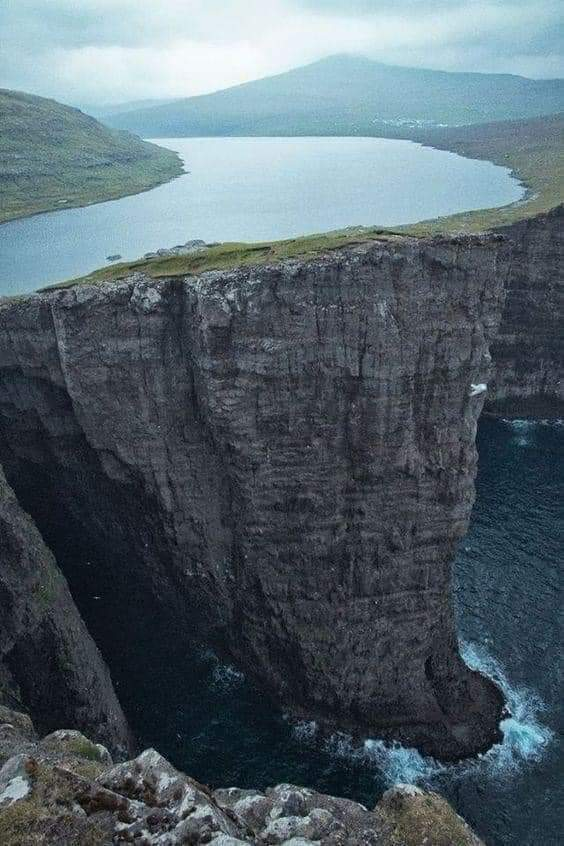 1Pic - Pharoe Islands, Sorvagsvatn Lake. It's a Lake, On a Cliff, Over the Sea