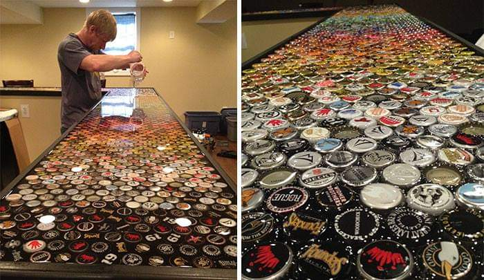 Man Collects Bottle Caps For 5 Years To Redo His Kitchen, And Here Are The Results