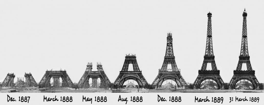 Phases of construction of the Eiffel Tower from 1887 till 1889, Paris, France