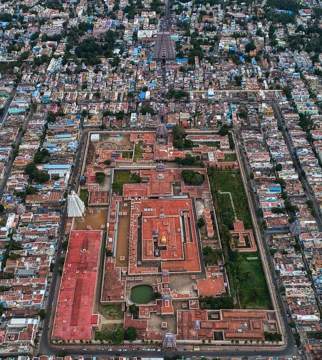 An aerial view of Srirangam - the world's largest functioning temple
