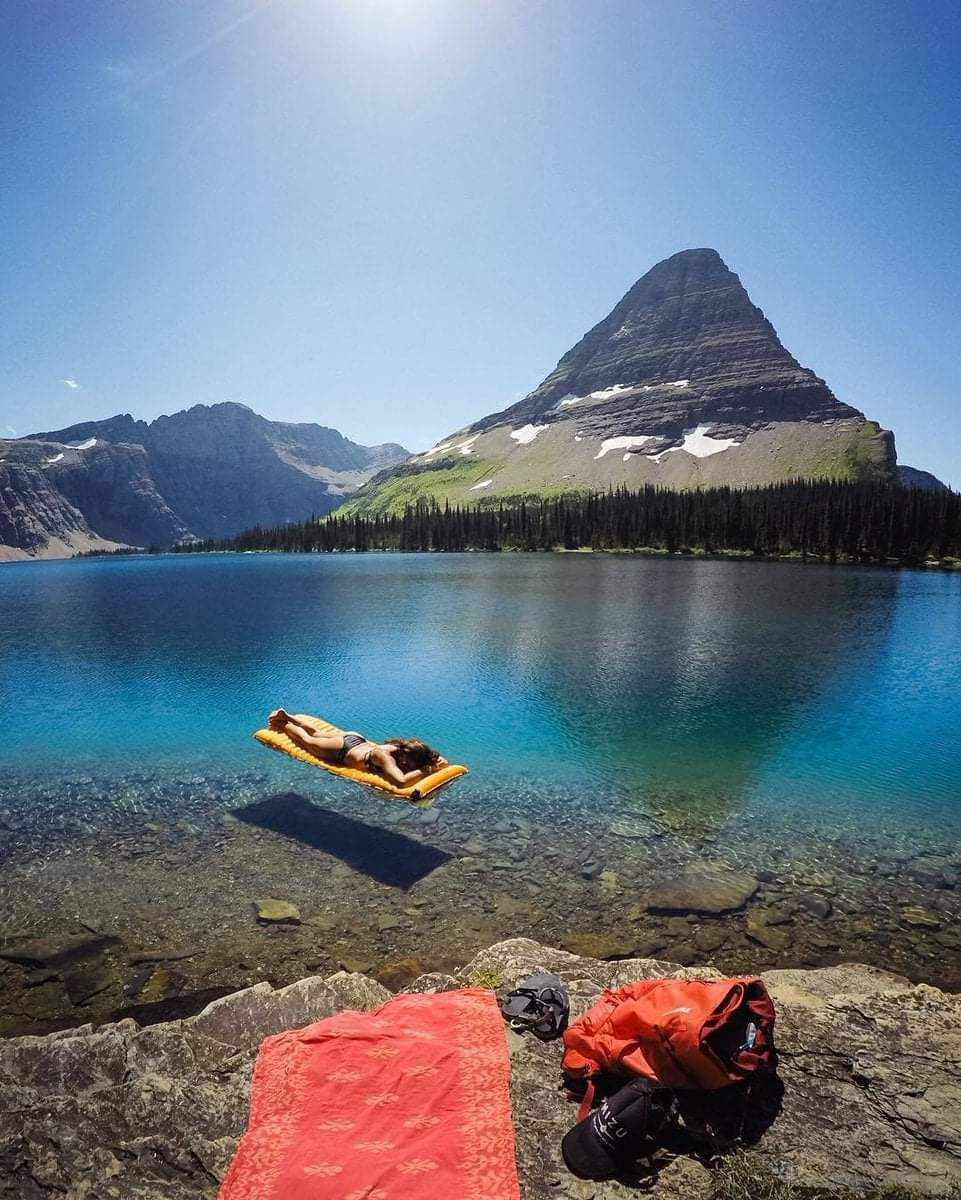 Louging in crystal clear water at Hidden lake,Glacier National Park,Montana