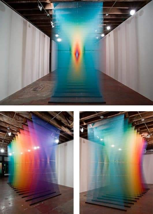 A rainbow show made in Toledo Museum of Art By the Mexican artist Gabriel Dawe