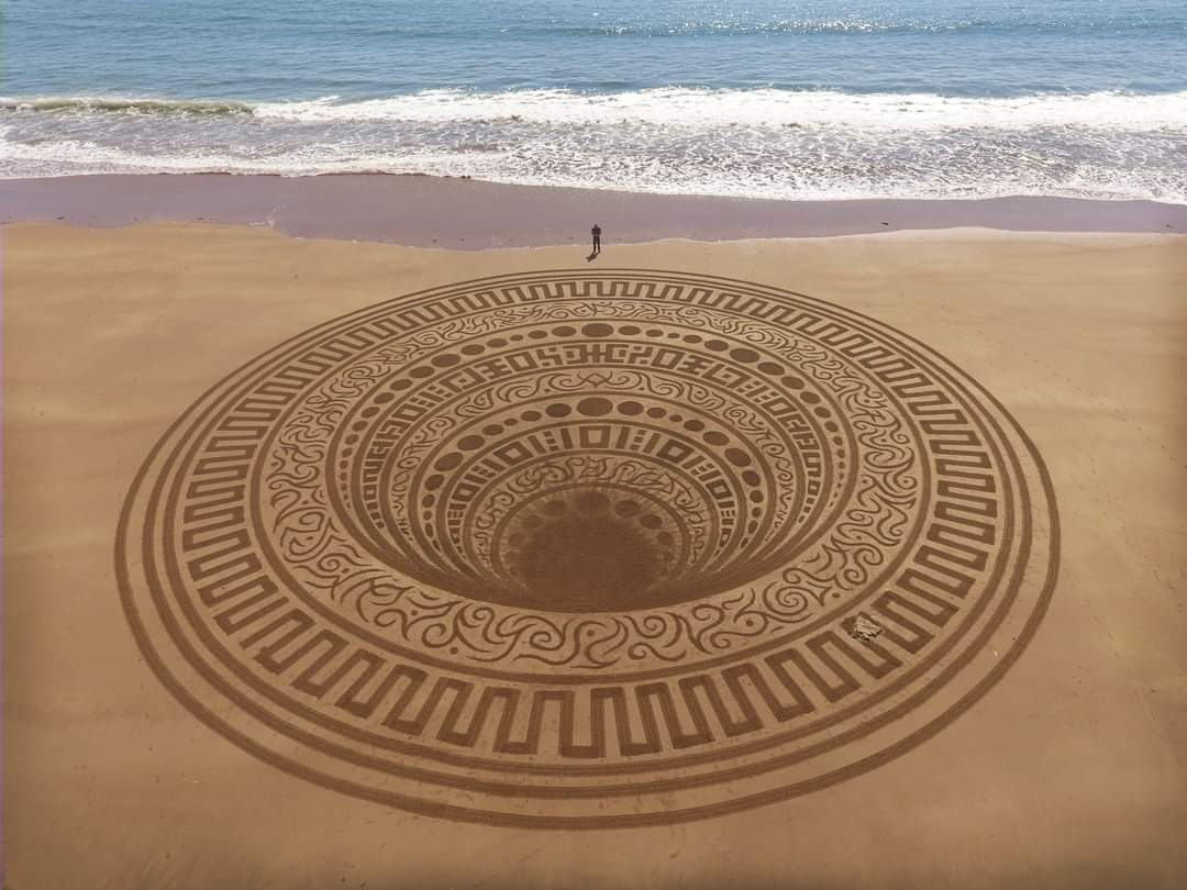 Artist Jon Foreman makes elaborate sand drawings that can only be seen from drones