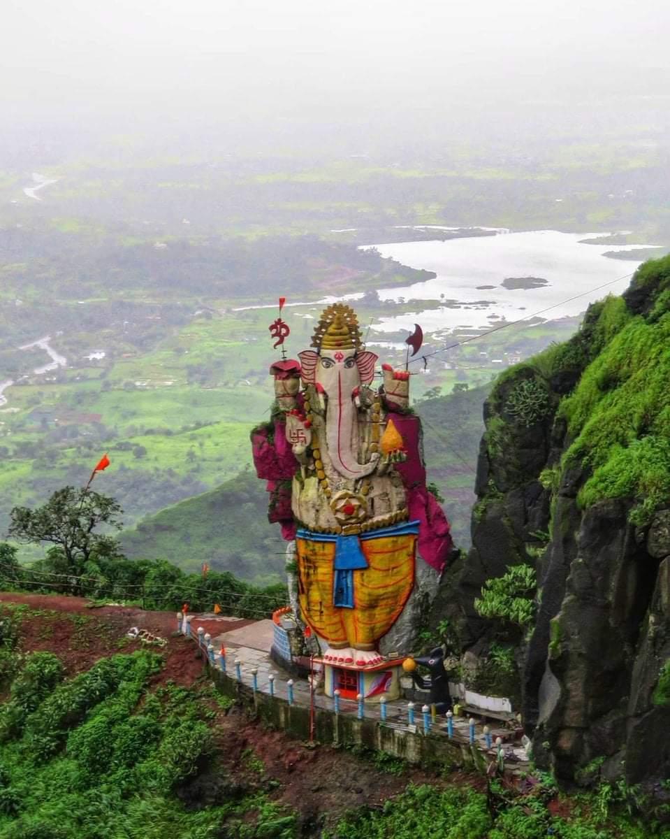 Monolithic Ganesh Idol Perched on a Hill near Mumbai