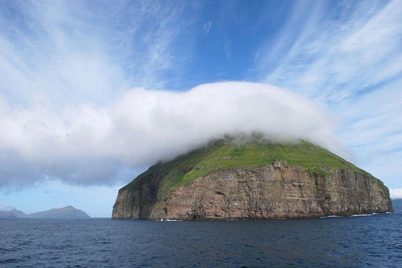 The Cloud Covered Island of Litla Dimun, Faroe Islands