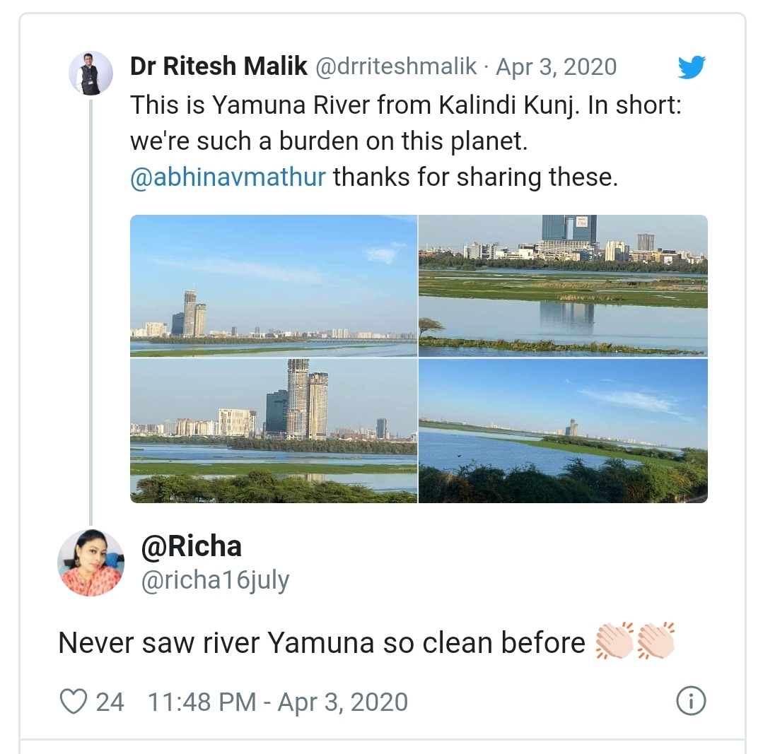 #Corona Effect - Pictures Of Cleaner 'YAMUNA' River are going Viral