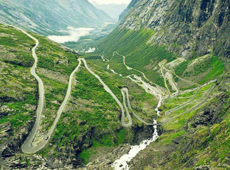 Breathtaking Trollstigen mountain road in Norway