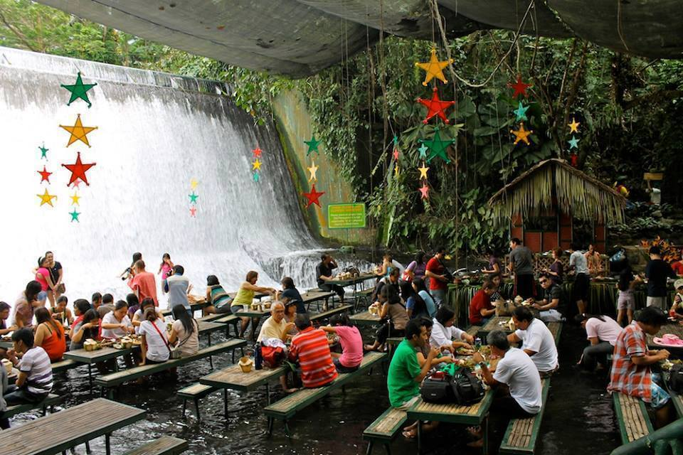 Amazing Waterfall Restaurant Villa Escudero in Philippines