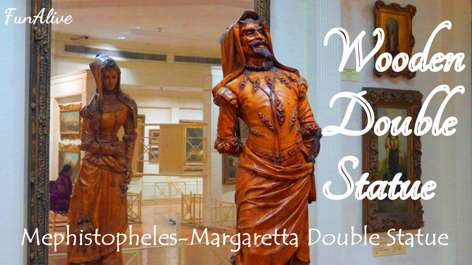 19th Century Wooden Double Statue - Mephistopheles and Margeretta Double Statue