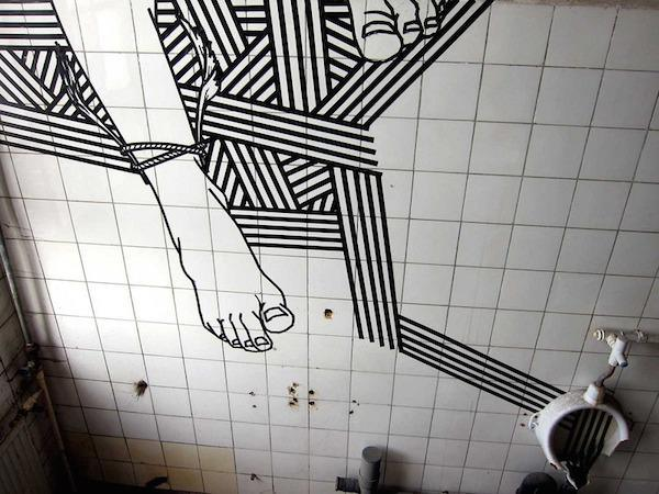 Artist creates amazing street art using tape (20 Photos)