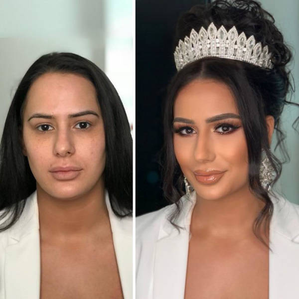 Brides Before And After Their Wedding Makeup (26 pics)