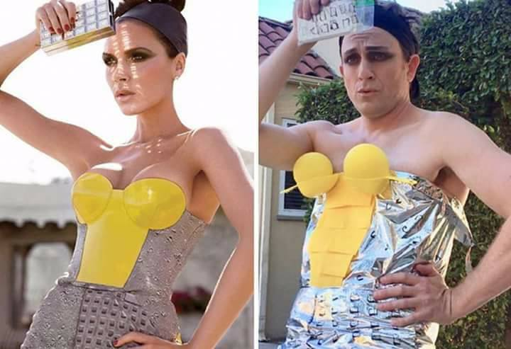 Cheap Fashion - This Actor Recreates The Outfits Of Celebrities With Everyday Objects (24 Pics)