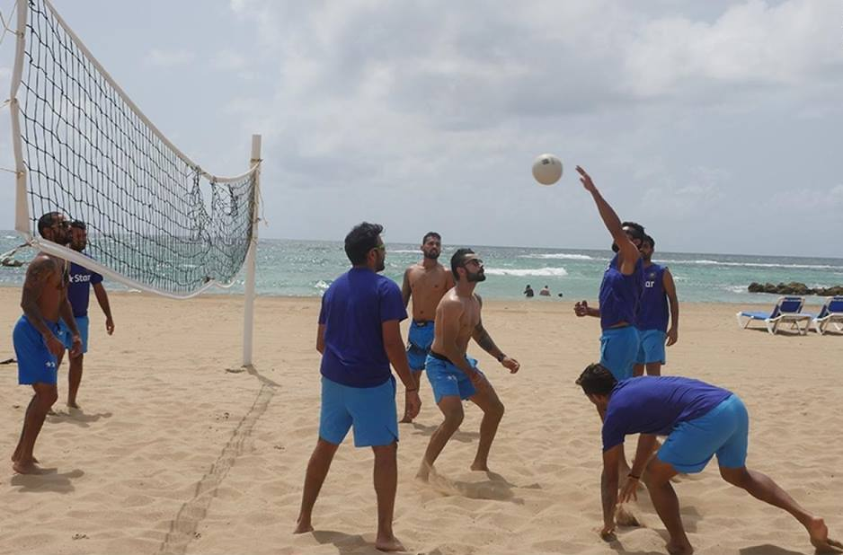 IN PICS: Indian cricket team playing beach volleyball in West Indies