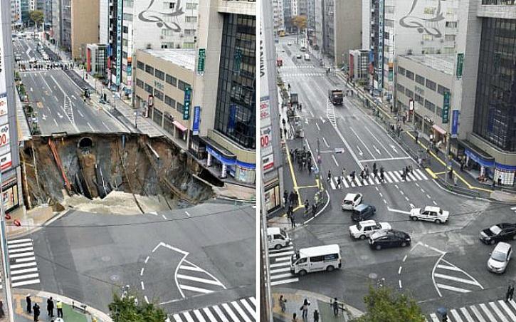 Japan Fixes 100 Foot Fukuoka City Sinkhole...In 7 Days!